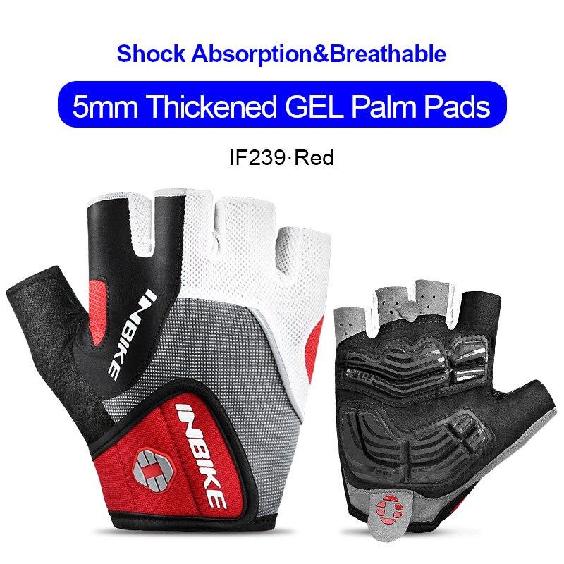 IF239-Red-INBIKE Summer Men Women Half Finger Shockproof Cycling Gloves