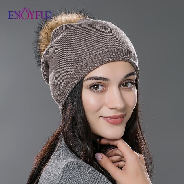 Kadın kış şapka yün örme kasketleri kap gerçek doğal tilki kürk ponpon şapkalar katı renkler gorros kap kadın rahat şapka