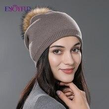 여성 겨울 모자 양모 니트 모자 모자 천연 자연 여우 모피 pompom 모자 단색 gorros 모자 여성 인과 모자