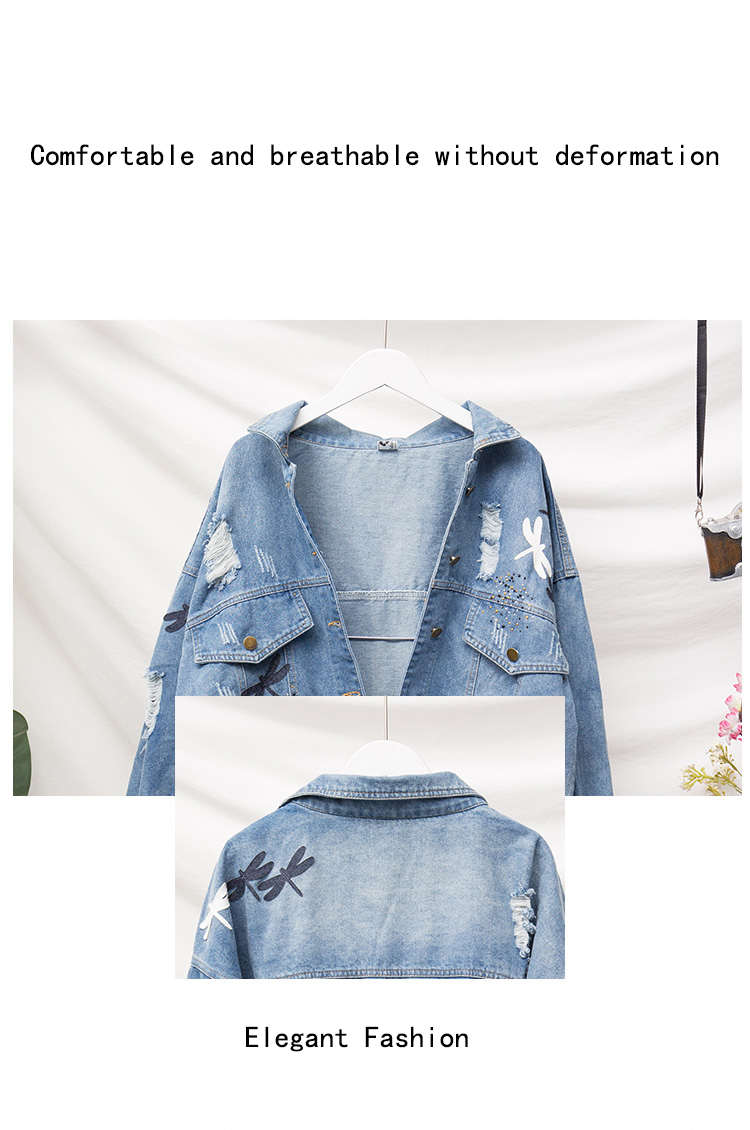 Embroidery Pattern Lapel Loose Denim Jacket 4