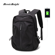 Heroic Knight USB Charging Laptop Backpack 15.6 inch Men School Bags For Teenage Boys College Travel Backpack Male Mochilas