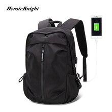 Kahraman şövalye USB şarj Laptop sırt çantası 15.6 inç erkekler okul çantaları genç erkek kolej seyahat sırt çantası erkek Mochilas