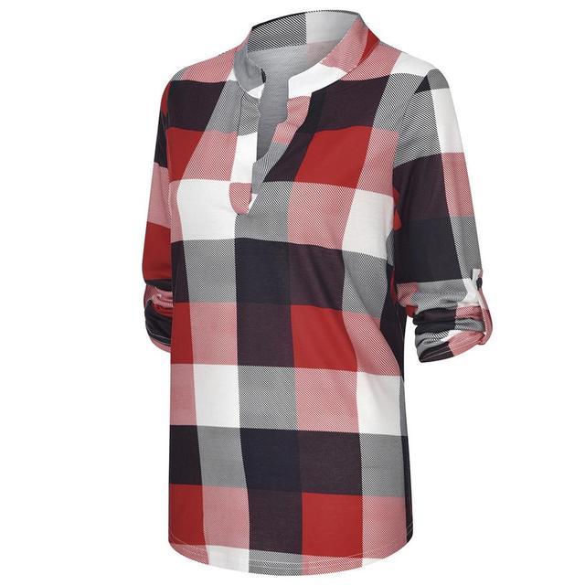 Women Tops and Blouses Plus Size Autumn Women's Plaid Blouse Shirts Sexy V Neck female blouses  Lady Business Blouse 3