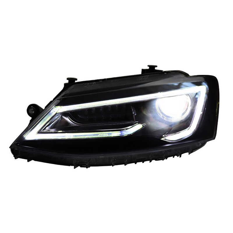 Led Devil Eye Projector Xenon Hid Koplampen Voor Volkswagen Sagitar Jetta MK6 2012 ~ 2017 Hoofd Lamp Met Rode Lens moving