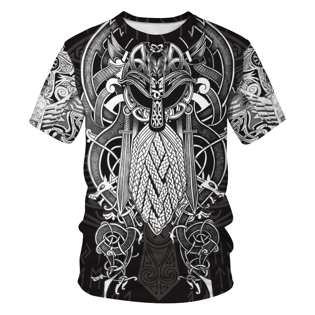 2021 Summer hot sale Viking Myth 3D Print Round Neck T-shirt European and American Fashion Viking streetwear shirt