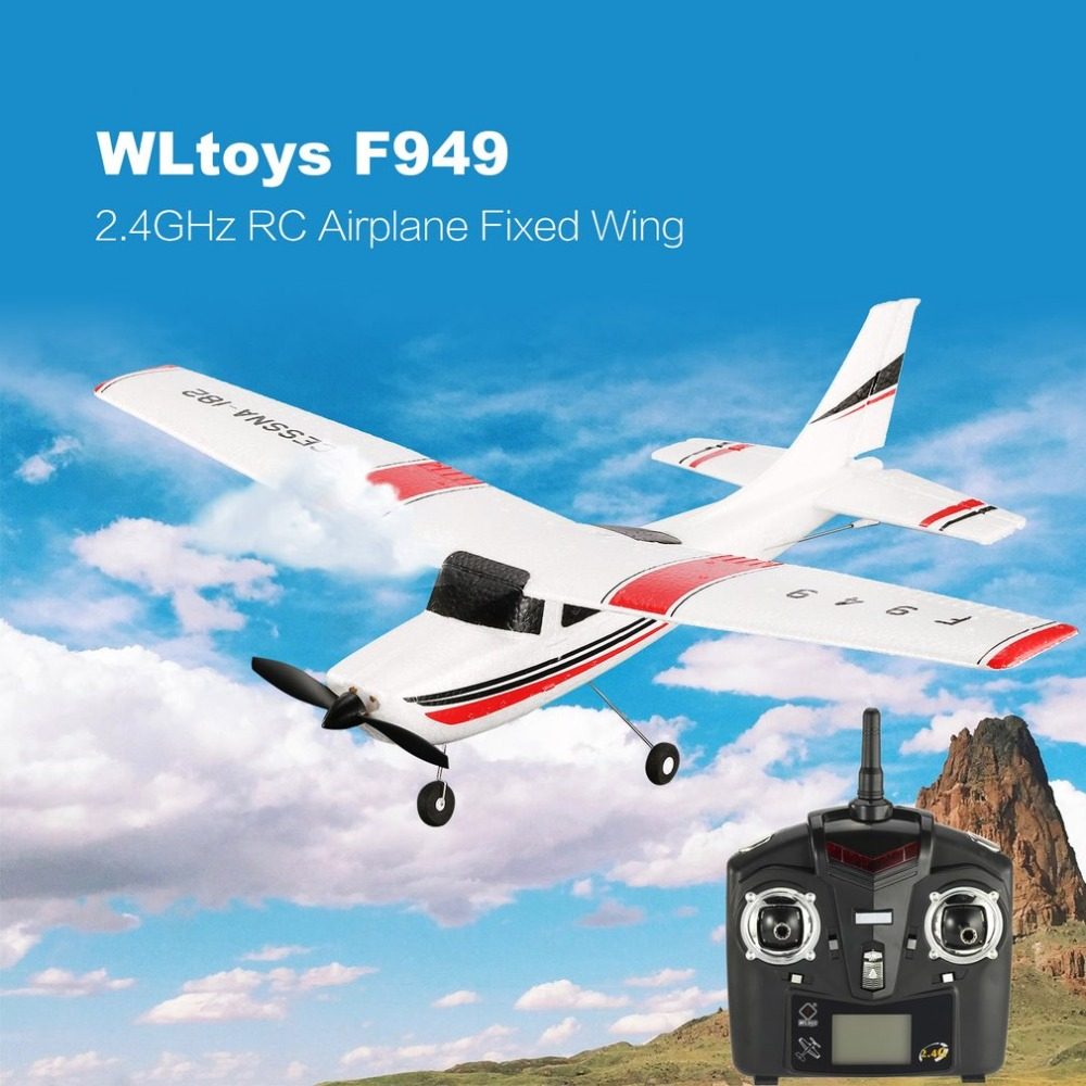 WLtoys F949 RC drone Airplane 3 Ch 2.4GHz Radio Control Fixed Wing RTF CESSNA-182 Plane Outdoor Drone Toy for Ages 14+ Children