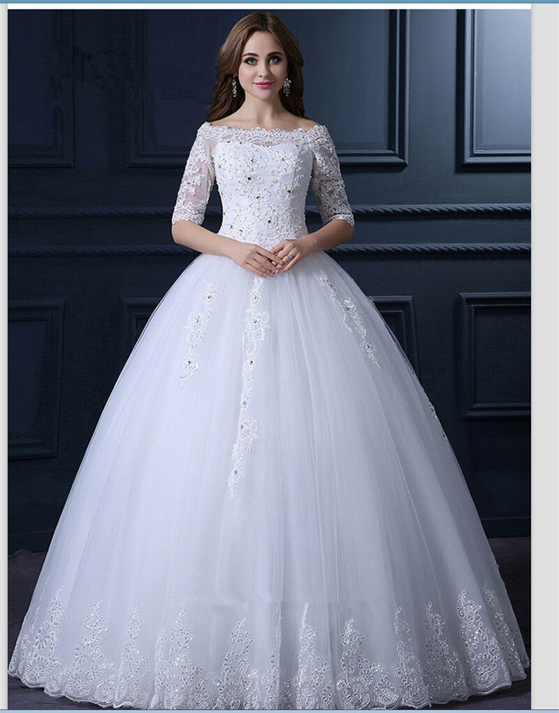 2018 Princess Vintage Lace Half Sleeve Floor Length Brides Bridal Gown Beaded Robe De Mariage Mother Of The Bride Dresses