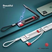 OATSBASF Foldable Portable 3 in 1 Charing USB Cable For iPhone Micro Type C Compatible with Huawei Xiaomi
