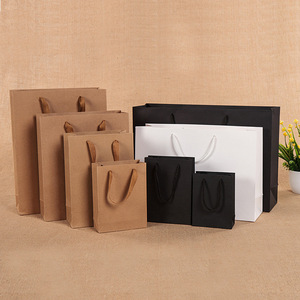 1 Pcs White Black Khaki High Quality Simple Paper Gift Bag Kraft Paper Candy Box with Handle Wedding Birthday Party Gift Package