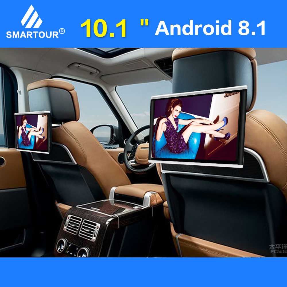 Smartour Android8.1 Da 10.1 Pollici Auto Poggiatesta Monitor Video HD 1080P Dello Schermo di Tocco di WIFI/Bluetooth/USB/HDMI /SD/FM MP5 Video Player title=