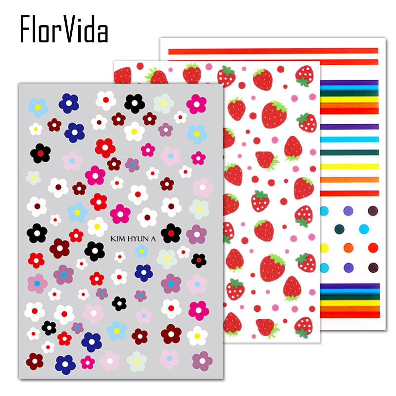 FlorVida Self-sticking 3D Nail Art <font><b>Stickers</b></font> <font><b>Kim</b></font> Hyun A Flower Strawberry Egg Decal For Nails Beauty image