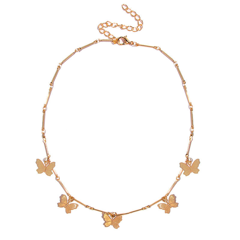 Butterfly Pendants Necklaces for Women Bamboo Chain Choker Gold Silver Color 2020 Fashion Jewelry Short Necklace Female New