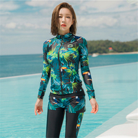 MEIYIER 2019 Korean Rashguard womens Five pieces surf swimwear UV protection bikini set+zipper shirts+shorts+pants swimsuit