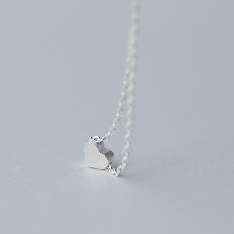 Real 925 Sterling Silver Cute Frost Heart Choker Necklace Personality Fine Jewelry For Women Wedding Party Accessories