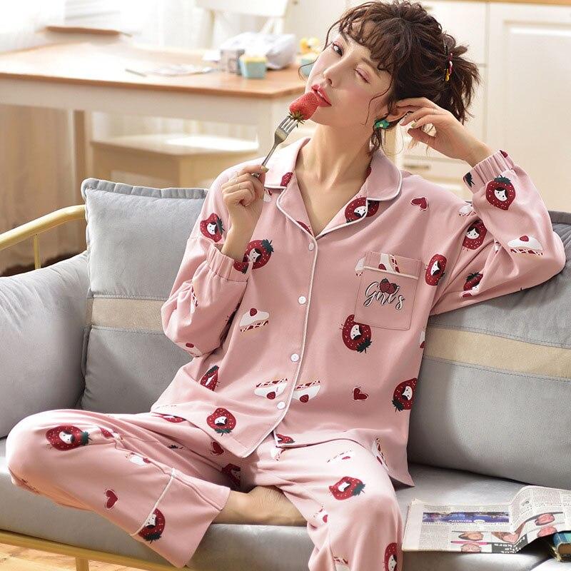 Tonmodi Дамский пижамный комплект весна и осень тонкий японский сладкий мультфильм печати с длинным рукавом милый Кукла Пижама с воротником Повседневная - Цвет: 6945
