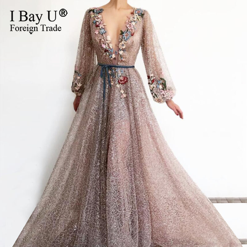 Champagne Full Beading Evening Dress 2020 V-Neck Pink High Split Tulle Long Sleeve Prom Gown A-line Lace Up Backless Vestido De