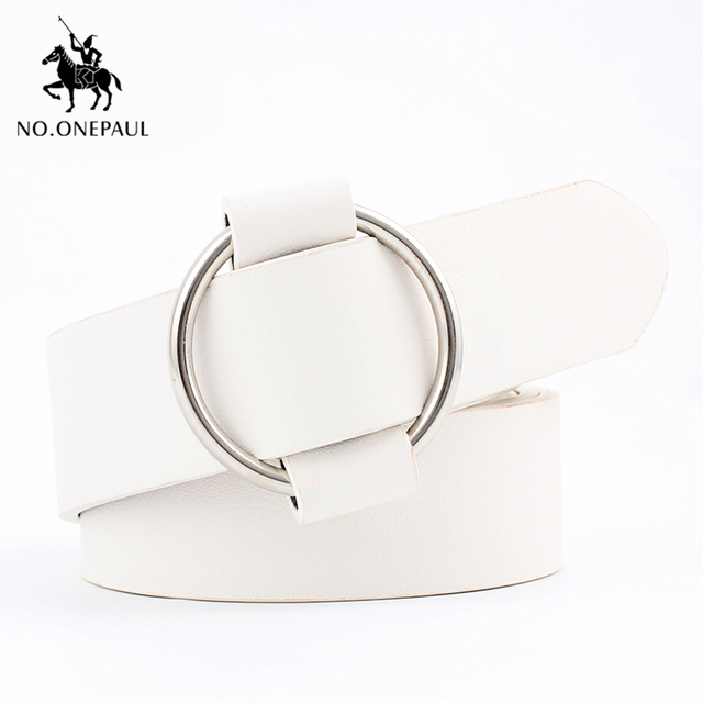 Genuine quality ladies fashion latest needle-free metal round buckle belt 1