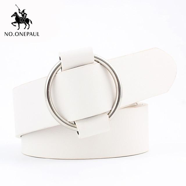 NO.ONEPAUL Genuine quality ladies fashion latest needle-free metal round buckle belt jeans wild luxury brand the women belt for 2