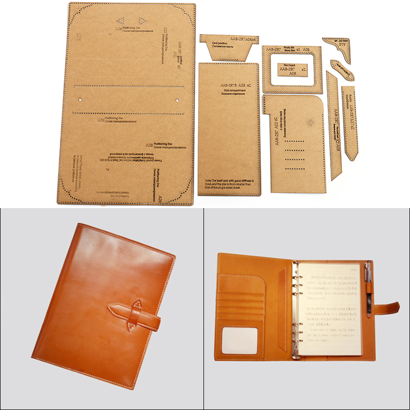 Kraft Paper Template Leather Sewing Pattern DIY Handmade A5 Loose-leaf Notebook Cover Handmade Leather Craft Template Tools