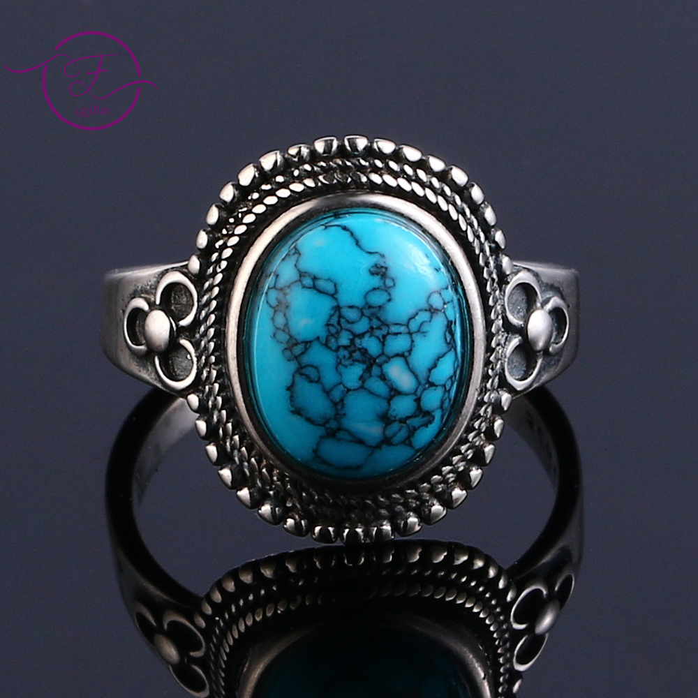 Women 100% 925 Silver Ring 8x10MM Natural Turquoise Vintage Ring Engagement Wedding Party Gift Wholesale