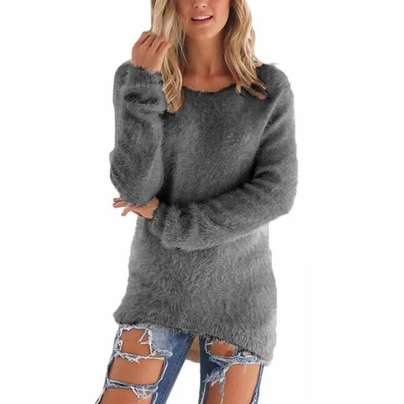 Пуловеры осень-зима, женский свитер с круглым вырезом, женский свободный пуловер, повседневные однотонные свитера, оптовая продажа, Прямая поставка