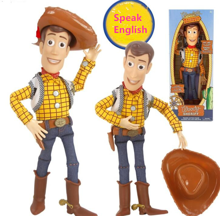 2019 Toy Story 4 Talking  Woody PVC Action Toy Figures Model Toys Speaking Sheriff Woody Collectible Doll