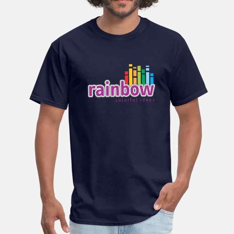 Разноцветная Футболка с принтом радуги Мужская хлопковая футболка круглым