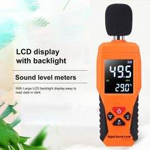 Цифровой Уровень звукового дБ метров 30dB~ 130dB Decibe Шум регистратор детектор, для диагностики инструмент Температура тестер с Подсветка