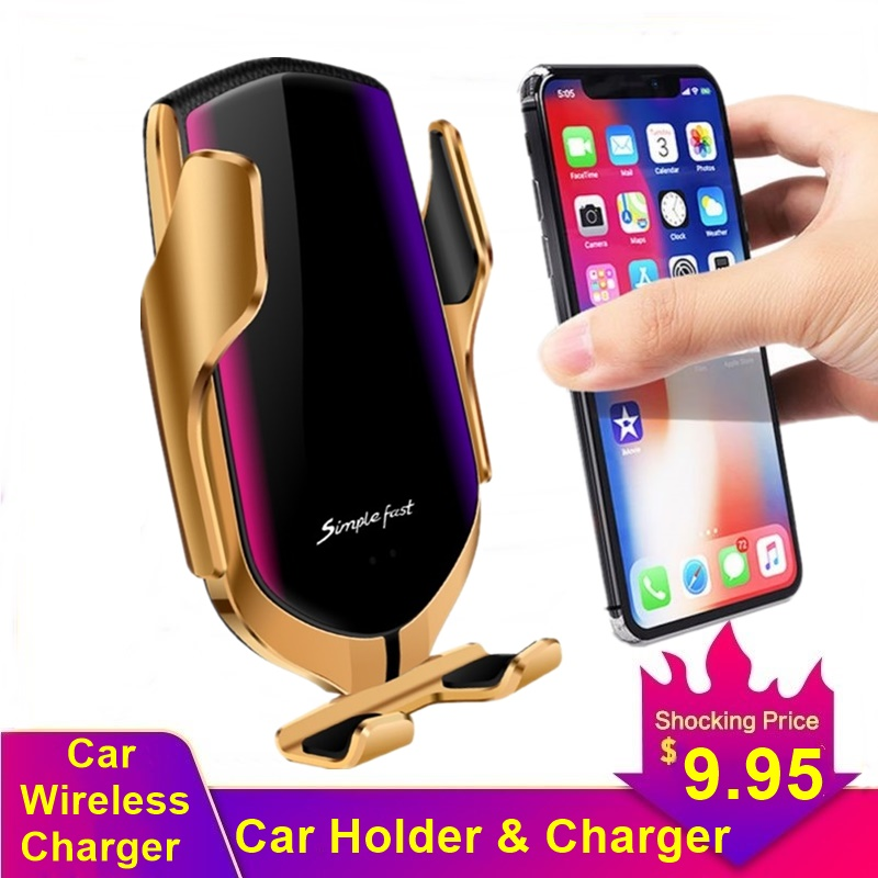 Tongdaytech 10W Car Phone Holder For Iphone X 8 11 XS XR Pro Max Auto Car Fast Wireless Charger For Samsung S10 S9 S8 Note 10 9