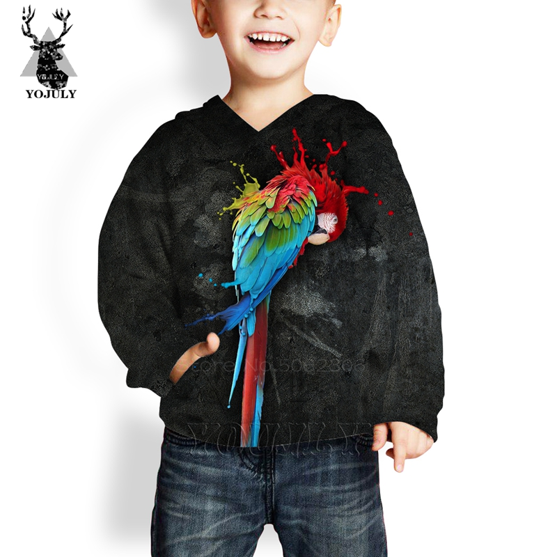 New Child <font><b>3D</b></font> print Parrot <font><b>Hoodies</b></font> <font><b>animal</b></font> fashion off white Men's Sweatshirt girls boy O-neck streetwear <font><b>unisex</b></font> Pullover Tops C64 image