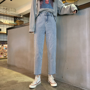 Image 2 - Jeans Women Vintage Simple Girls Korean Style Casual Womens All match Trousers Ankle length Harajuku High Quality Loose Fashion