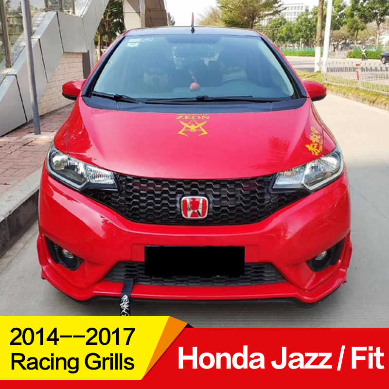 Use for Honda jazz fit Racing Grills 2014 15 16 17 Year honeycomb style Refitt Front Center Racing Grille Cover Accessories