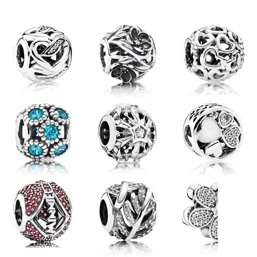 NEW 100% Genuine 925 Sterling Silver Hollow shine pattern Charm Beads Fit Bracelet DIY bracelet The factory wholesale