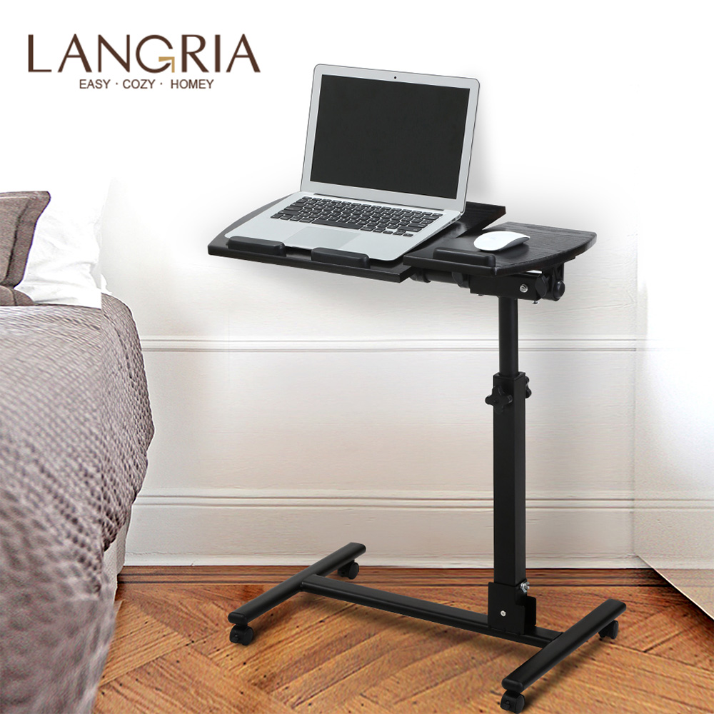 LANGRIA Portable Computer Desk Adjustable With Side Table Roll Laptop Cart Mobile Desk Notebook 360 Degree For Sofa Bed Office