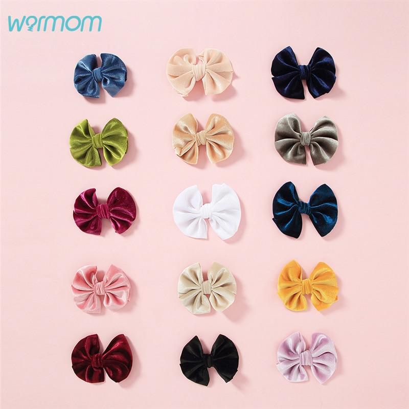 Warmom Baby Girls Soft Velvet Bowknot Hairpins Children Fashio Hairpins Kids Clips Hair Accessories Princess Barettes Accessory