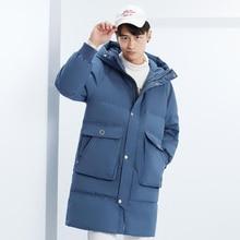 高品質男性ダウンジャケット冬ロングフード付きパーカーオーバー男性ファッション 90% ホワイトダックダウンコート緩い厚く暖かい服