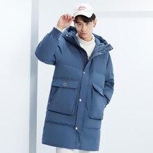 Alta qualidade jaqueta de inverno longo com capuz parka casaco masculino moda 90% pato branco para baixo casaco solto grosso quente roupas