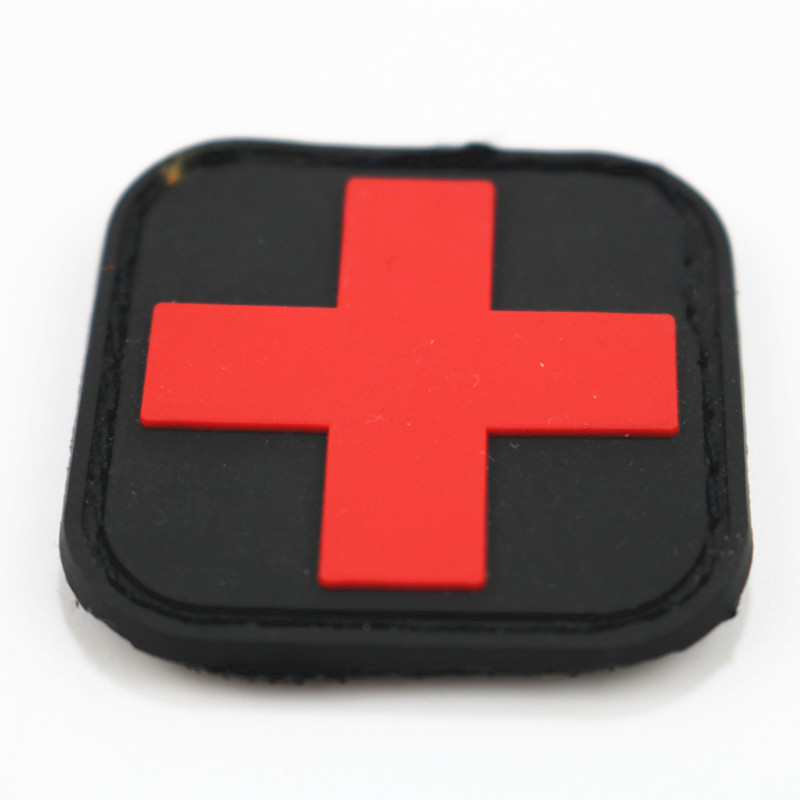 Tanxianzhepvc Velcro Shoulder Emblem Red Cross Medical Care Rescue Morale Patch Cross Standard Velcro