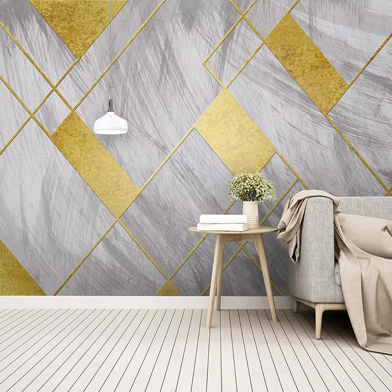 3D Wallpaper Modern Personality Retro Abstract Golden Geometric Photo Wall Murals Living Room Sofa Home Decor Art Wallpapers 3 D