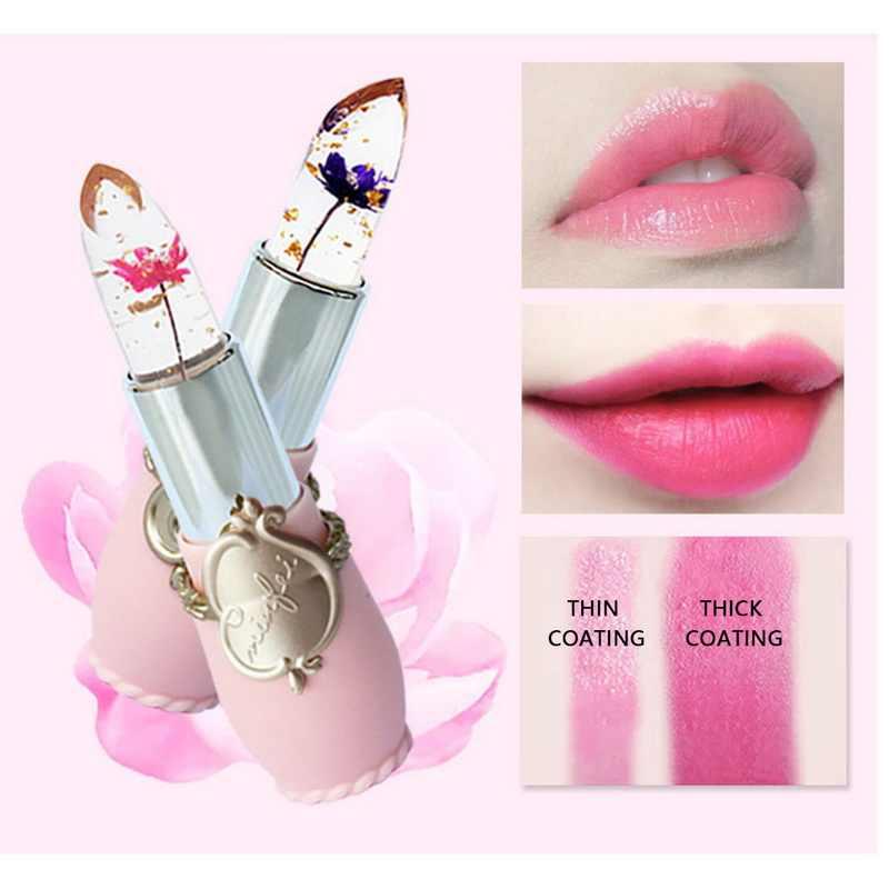 Gelée fleur hydratant baume à lèvres Transparent température changé couleur rouge à lèvres rose Pintalabios maquillage longue durée baume à lèvres