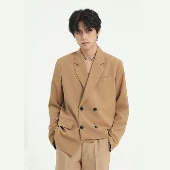 Men Asymmetry Design Double Breasted Casual Suit Coat Overcoat Japan Style Male Fashion Blazer Jacket Outerwear