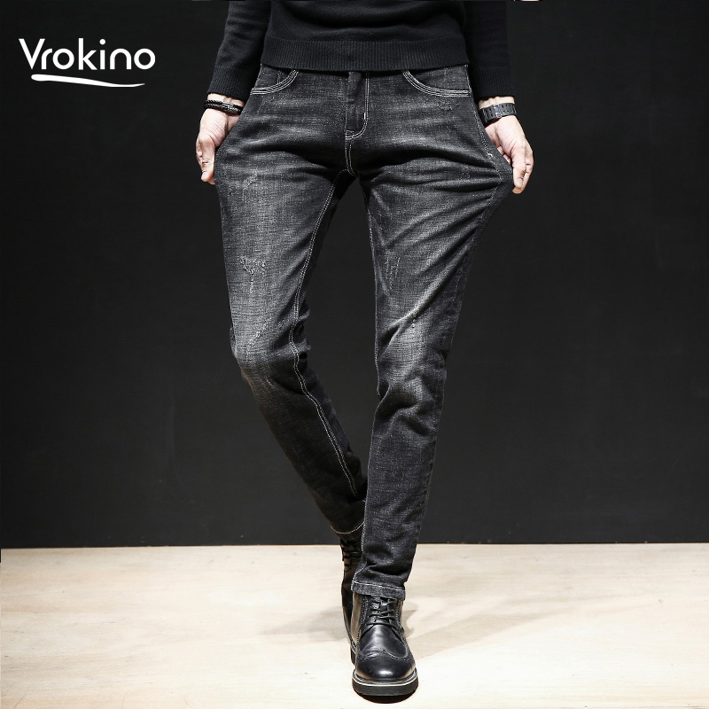 2019 New Autumn And Winter Fashion Men's Classic Retro Jeans Casual Stretch Tight Men's Jeans Large Size 28-40