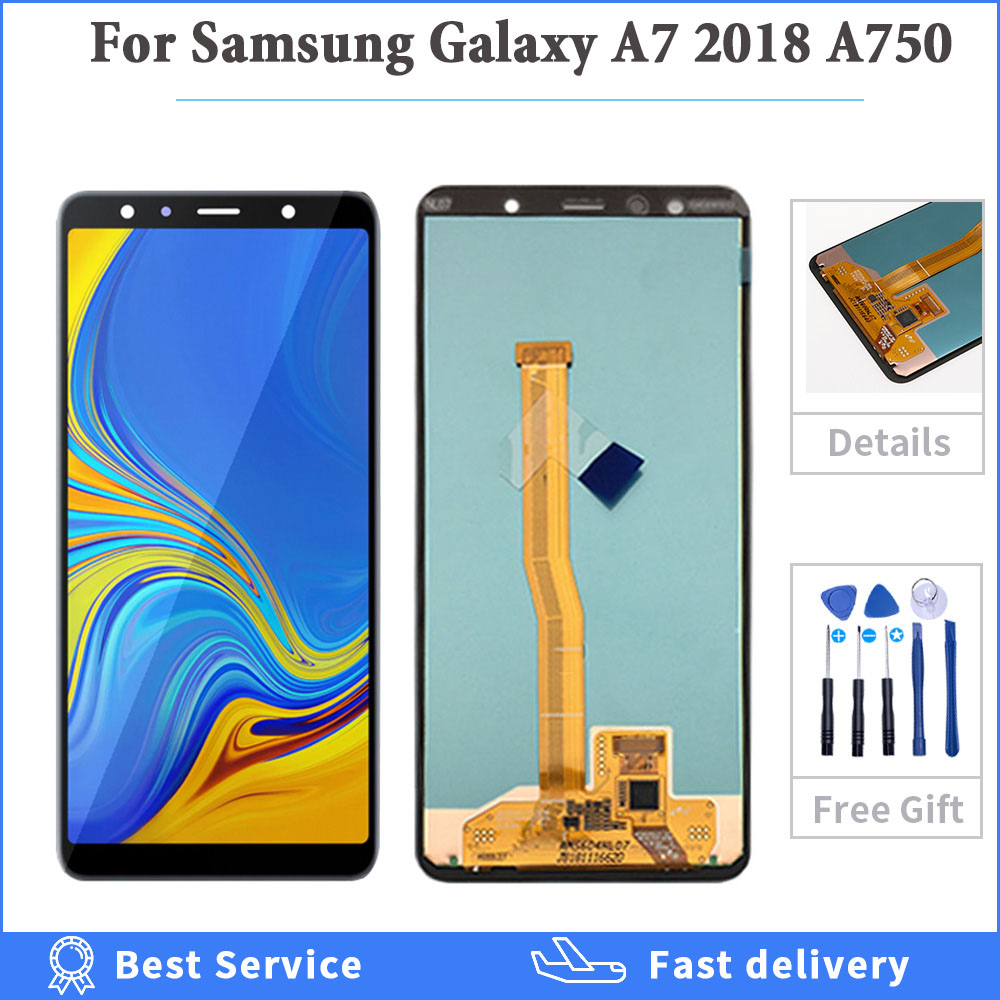 6.0'' SUPER AMOLED TFT oled Screen for <font><b>SAMSUNG</b></font> <font><b>Galaxy</b></font> <font><b>A7</b></font> <font><b>2018</b></font> SM-A750F A750F A750 LCD <font><b>Display</b></font> Touch Original Digitizer Assembly image