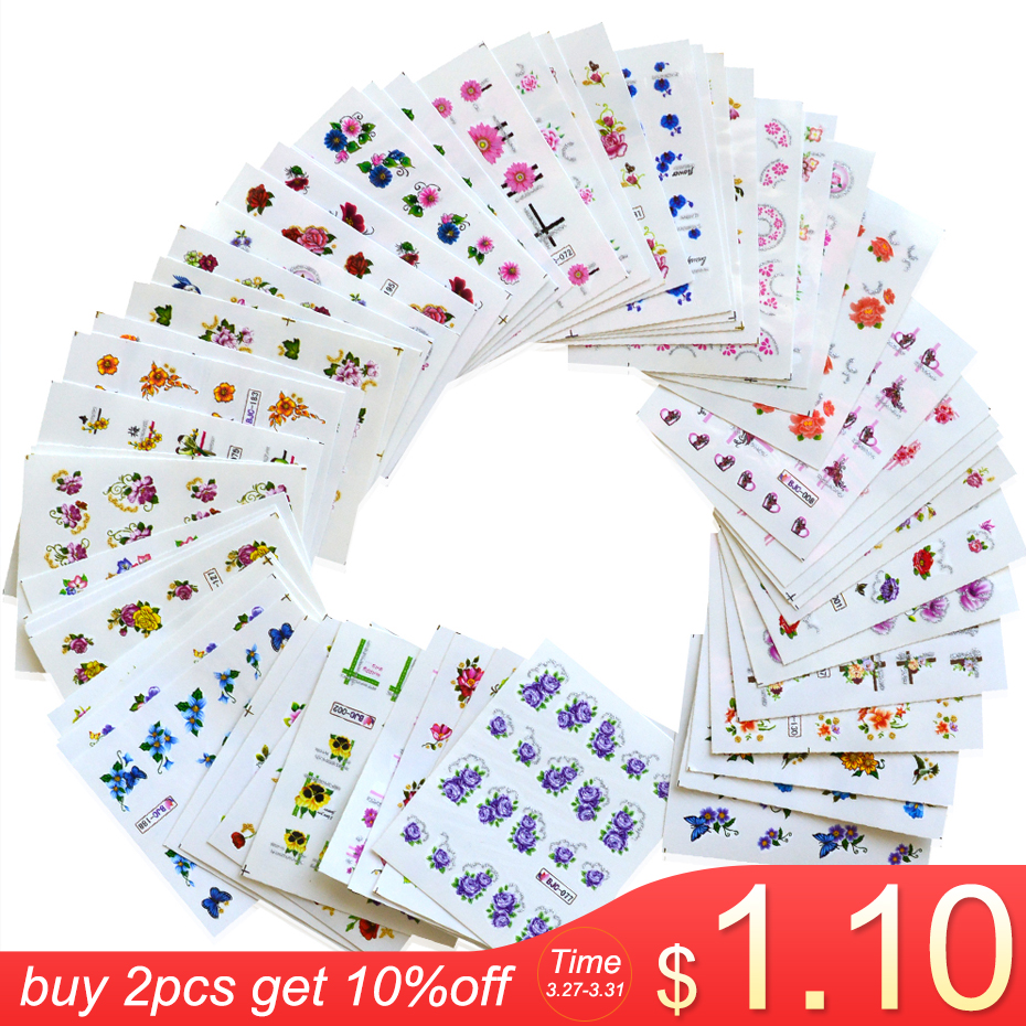 1 Set Glitter Bling Nail Stickers Nail Art Flower Water Transfer Decals Beauty Foil Wraps Manicure Decor Accessories LABJC55-1