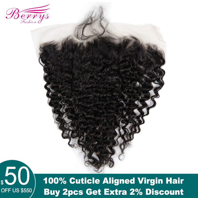 Virgin-Hair Lace-Frontal TRANSPARENT Deep-Wave Berrys Fashion Preplucked Brazilian Hair-Weft
