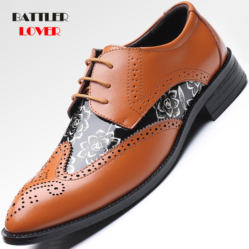 Plus Size Dress Shoes For Men British Designer Leather Men Brogue Oxfords Elegant Shoes Comfortable Pointed Toe Wedding Flats