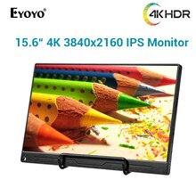 "Eyoyo Monitor portátil EM15L 4K HDR de 15,6 "", 3840X2160, UHD, IPS, pantalla LCD, HDMI tipo C, Monitor para jugadores 1000:1, para Mac, PC, Raspberry Pi"