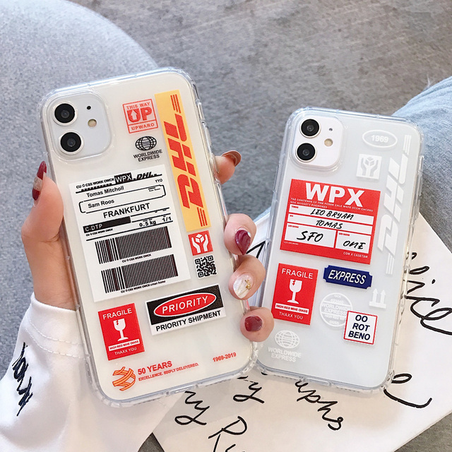 Hot Street Case For Iphone 11 12 Pro Max Express Label Bar Code Transparent Soft Case For Iphone X XR XS MAX 7 8 Plus Back Cover 3