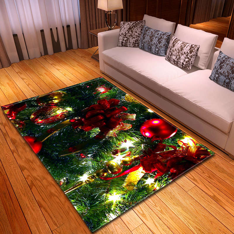 3D Christmas Elk Sleigh Carpet Living Room Kitchen Rugs And Carpets For Home Bedroom Kids Rooom Parlor Party Tapete Customized