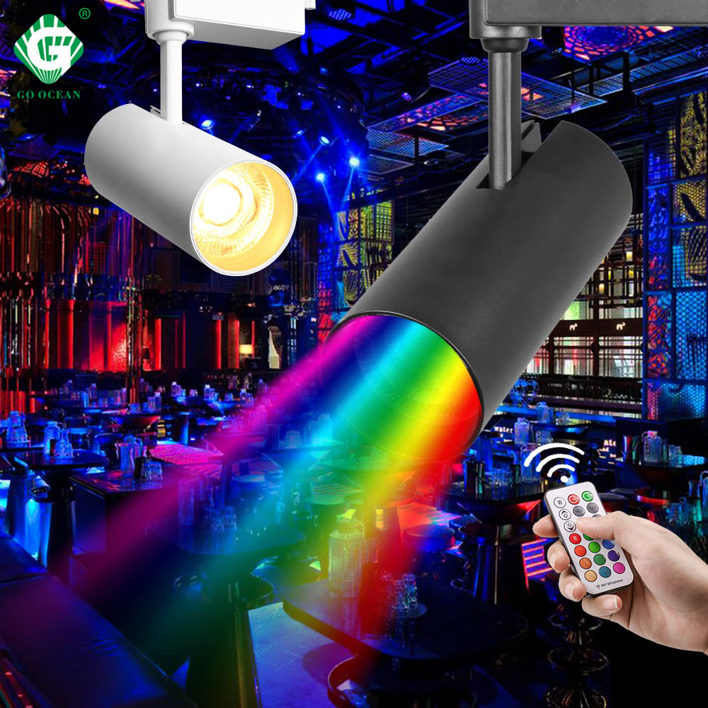 18W 30W RGB LED Track Light KTV Stage Background Lamp Remote Control Rail Lighting 110V 220V For Shop Clothing Store Home